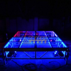 Glass floor mobile stage for sale and concert transparent stage in heavy load
